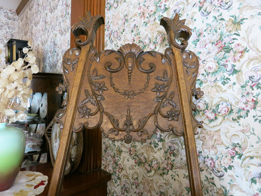 Elaborately carved wooden picture easel     c. 1880