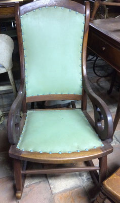 Peter Brill owned a woodworking shop on the west side of the Zeeland Cemetery. This chair was manufactured at the Peter Brill Mfg. Co. in Zeeland.