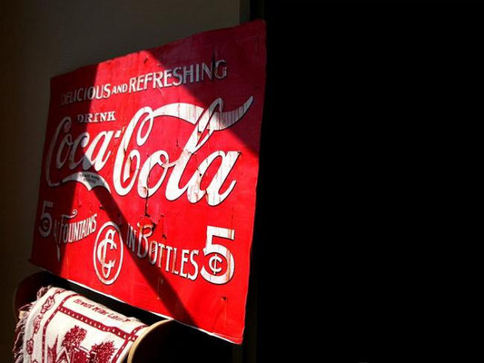 A Coca-Cola sign greets visitors entering the Zeeland Historical Society. Rob Wetterholt Jr./Sentinel Staff