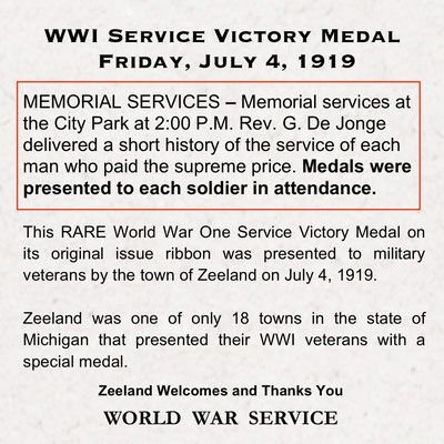 WWI Service Victory Medals were presented to each soldier in attendance at the Memorial Services