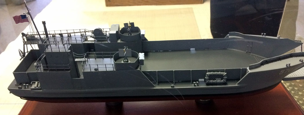 Model of a Navy LCT (Landing Craft Tank) used in the invasion of Normandy by the U.S.A. on D-Day.