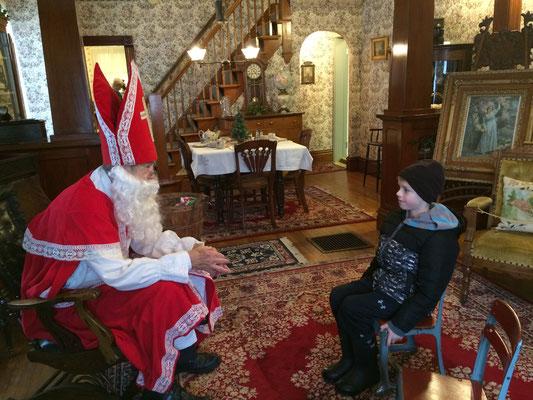 Visiting Sinterklaas in the Dekker-Huis Parlor ::photo by Susan Norder