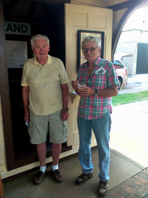 Brothers, Dale and Terry Van Haitsma, stand by the interurban station that was located at their father's farm   [photo by Arlene]
