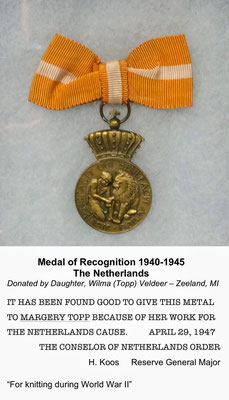 Medal of Recognition to Margery Topp (mother of Wilma (Topp) Veldeer, Zeeland, Michigan)