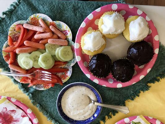 Veggies with dip; cupcakes for dessert