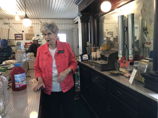 Jan Hoffman stands at their 1908 soda bar (photo by Susan)