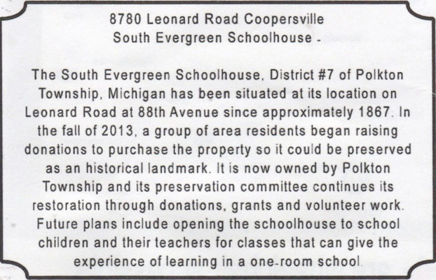 South Evergreen Schoolhouse - 8780 Leonard Road, Coopersville