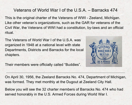 Veterans of World War One of the U.S.A. - Barracks 474