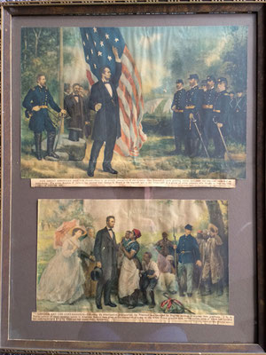 "Framed prints of President Abraham Lincoln - Top: ""The Great American and His Flag""; Bottom: ""Lincoln and the Contrabands"""