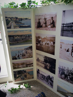 The photo collage displays post cards and photographs from back in the day.