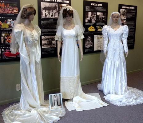 Three generations of wedding dresses, which were worn by Genevieve (DeJongh) Huizenga - 1945, daughter Elayne (Huizenga) Matthysse - 1967, granddaughter Lisa (Matthysse) Flipse - 1995 (photo by Arlene)