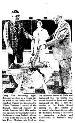Left to right: Mel Boonstra, Wilma Veldeer and Corey Van Koevering demonstrating the Humbug washer (The Zeeland Record, April 10, 1975, page 1)
