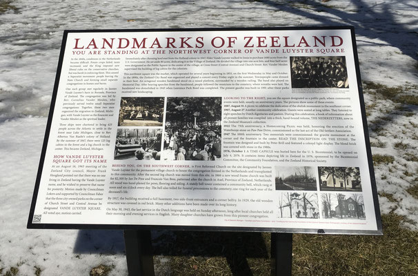 LANDMARKS OF ZEELAND - Northwest Corner of Vande Luster Square