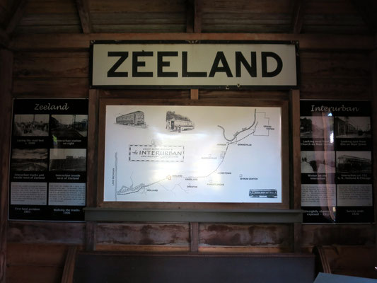 The large ZEELAND sign hung on the side of the Zeeland Railroad Depot, east of Elm Street