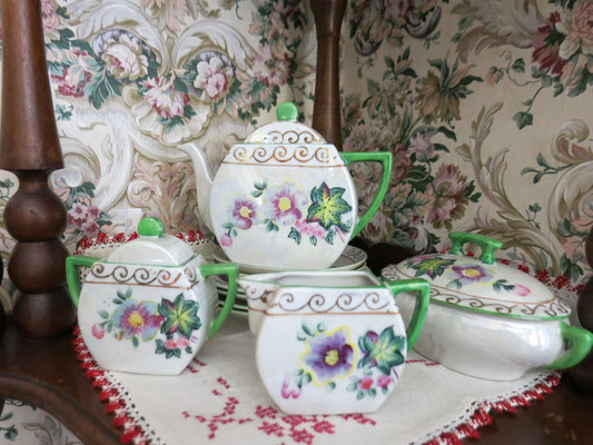All dish sets are porcelain, made in Japan.