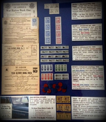 World War Two rationing on the U.S. home front (display located in the Veterans' Memorial Room at the Zeeland Museum)