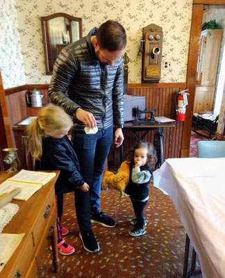 "Holding ""Kip"" in the original Dekker-Huis kitchen"