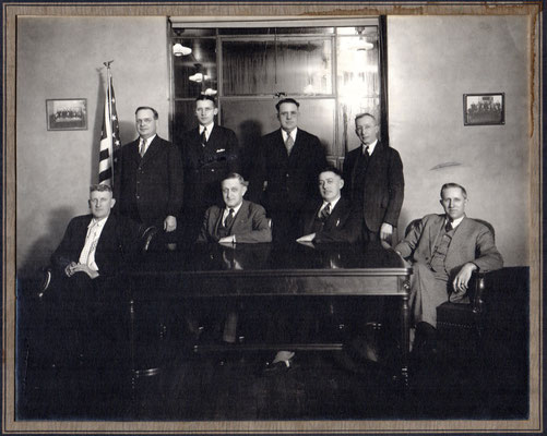 Zeeland City Council ca 1938 ~ Bottom row left to right: Peter Brill, Jim VanVolkenberg, David Vereeke, (Mayor), John Holleman ~ Top row: Peter Karsten, Fred Langeland, Nick Cook, Matthew Lookerse