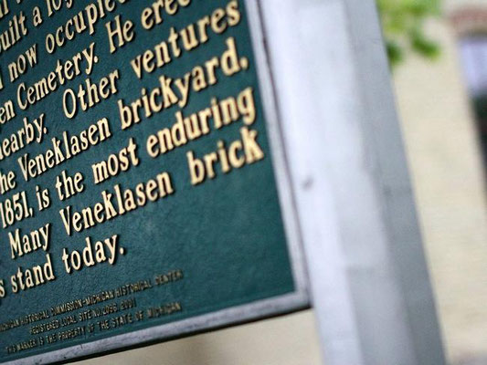 Veneklasen brick adorns the outside of the New Groningen Schoolhouse. Rob Wetterholt Jr./Sentinel Staff