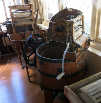 """The bench wringer (shown left) dates back to 1898. The Horton Washer, dated 1911, promised buyers that  """"A Horton Washer Will Add Many Years To Your Life. It Will Save Your Health . . . Keep the Wrinkles Out Of Your Face . . . And Keep You Youthful"""""""