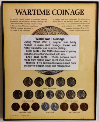 World War Two coinage with steel cents, shell case cents and silver war nickels