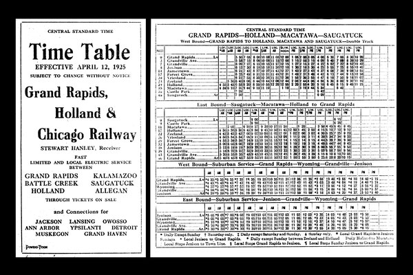 Interurban Time Table, effective April 12, 1925