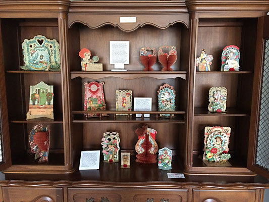 In this display, you see a collection of Valentines from the 1920s and early 1930s, most of them given to a teacher, Mr. Benjamin Brinkhouse.