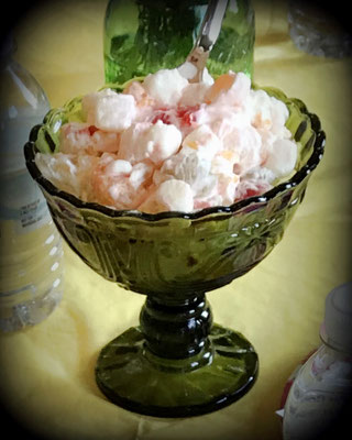 Small footed dish with ambrosia salad