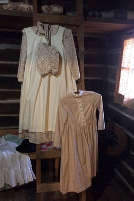 On display in the cabin are examples of colonial style clothing