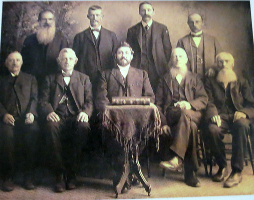 North Street Christian Reformed Consistory - Zeeland, MI (1899-1906) :: ROW 1: Borike Mulder; Martin Wyngfarden; Reverend Yoakman; ___ Van Kampen; ___ Schraam :: ROW 2: Derk Van Loo; Henry Vredeveld; ___ Vanden Bosch; Jake Jaensen