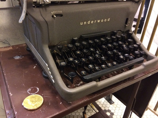 """There's a gold coin hiding by the typewriter. Did your mom or dad ever use a typewriter? Why?"" ::photo by Susan Norder"