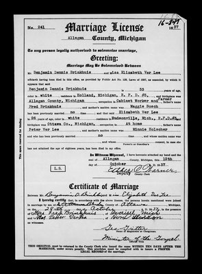 Certificate of Marriage between Mr. Benjamin D. Brinkhuis and Miss Elizabeth Ver Lee who were joined in marriage at Blendon, Ottawa, Michigan, on the 28th day of October, 1937