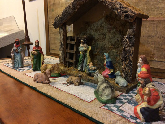 Vintage porcelain nativity scene in the Pioneer Room