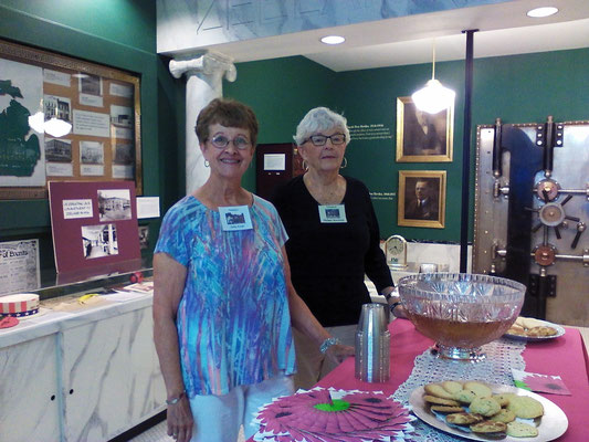 Museum volunteers, Judy and Thelma, host the refreshments   [photo by Arlene]