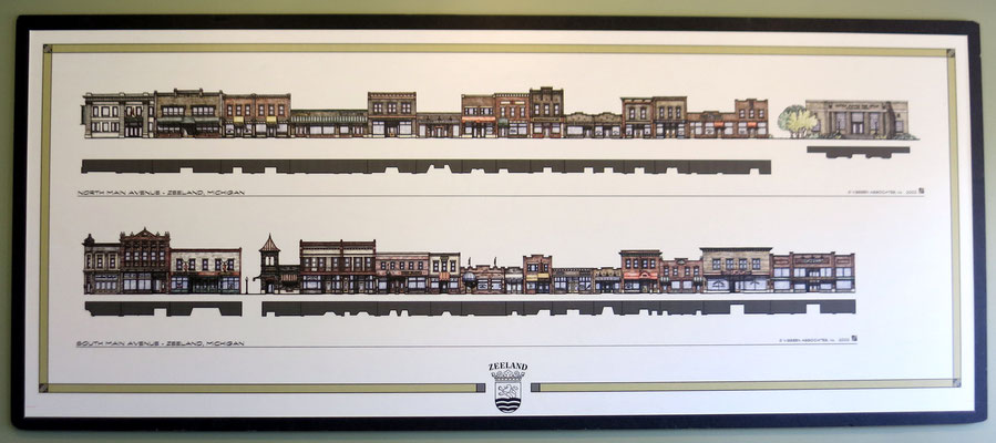 This architectural drawing of downtown Zeeland was created by Visbeen Associates, Inc. in 2002.
