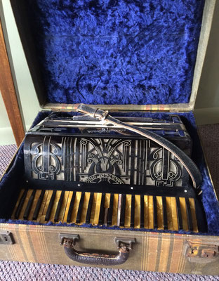 Masterphonic 41-key accordion was made by Marinucci, Italy. Belonged to Christy Yntema