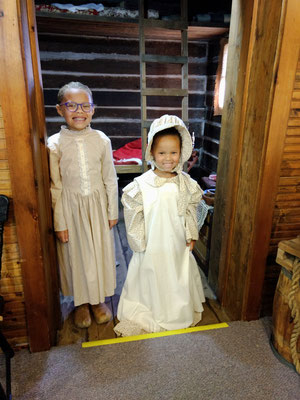 In the Pioneer Room, we find a couple of girls dressed for the day, even wearing wooden shoes.