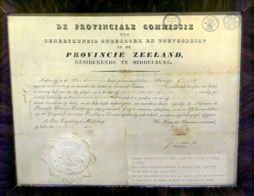 Maatje Gunst's original certificate for a Registered Midwife - 1832