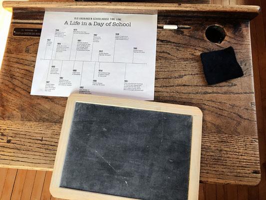A slate, chalk, eraser and time line