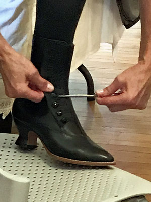 Wendy shows how ladies used button hooks to button up her boots
