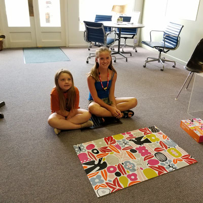 "Alexander Girard, who worked at Herman Miller for over 20 years, designed this giant floor puzzle, titled ""Eden"". Good job, ladies !"