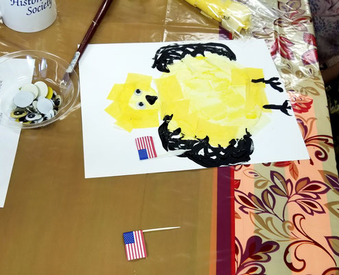 """Finished chick with """"feathers"""" and flags (photo by Debbie)"""