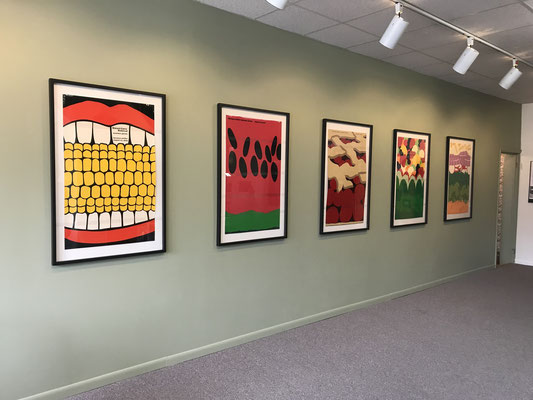 On display in the gallery of the Zeeland Historical Museum are five original posters created by Steve Frykholm.
