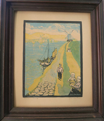 Signed watercolor print by John De Pree