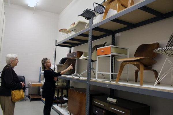 Diane Veldheer, right, and her mother Wilma Veldheer look around the furniture room in the Herman Miller Archives on Thursday, Nov. 12. Erin Dietzer/Sentinel Staff