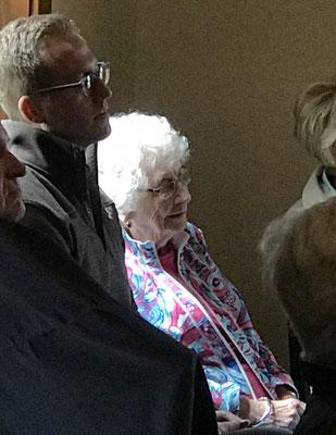 Centenarian, Genevieve Huizenga enjoying the presentation