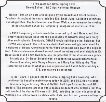 Dewitt School - 17710 West Taft Street, Spring Lake