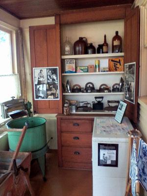 Newly remodeled laundry room showing the Humbug washer, lower left [photo by Arlene]
