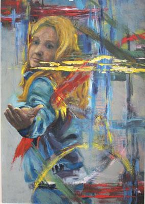 Ohne Titel, 2015, Öl und Acryl auf Papier, 100 x 70 cm