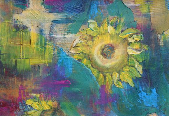 Sonnenblumen 2018, Acryl auf Papier, 20 cm x 29 cm